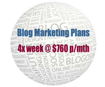 Blog Marketing Plans - Four times per week plan at $760 per month - Banner Link to PDF Document.
