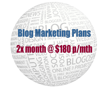Blog Marketing Plans - Two times per month plan at $180 per month
