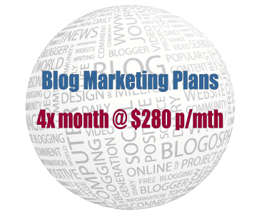 Blog Marketing Plans - Four times per month plan at $280 per month